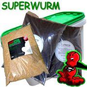 Superwurm Wurmzuchteimer 6 Liter + 6 Liter Spezialwurmerde & 1 Liter Spezial Wurmfutter ideal für Wurmzucht & Hälterung