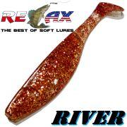 Relax Kopyto River 6 ca. 16cm Farbe Clear Kupfer Glitter Swimbait der ideale Großhecht & Welsköder für Bodden & Co.
