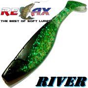 Relax Kopyto River 6 ca. 16cm Farbe Clear Grün Glitter Schwarz Swimbait der ideale Großhecht & Welsköder für Bodden & Co.