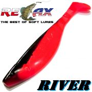 Relax Kopyto River 6 ca. 16cm Farbe Japanrot Schwarz Swimbait der ideale Großhecht & Welsköder für Bodden & Co.