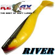 Relax Kopyto River 6 ca. 16cm Farbe Gelb Schwarz Swimbait der ideale Großhecht & Welsköder für Bodden & Co.