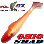 Relax Ohio Shad 5 Gummifisch ca. 14cm Farbe Goldperl Orange RT 1 Stück Hecht&Zanderköder