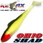Relax Ohio Shad 5 Gummifisch ca. 14cm Farbe Goldperl Olive 1 Stück Hecht&Zanderköder