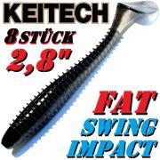 8 X Keitch FAT Swing Impact 2,8 Gummifisch 7cm Black Shiner