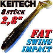 8 X Keitch FAT Swing Impact 2,8 Gummifisch 7cm Green Pumpkin PP.