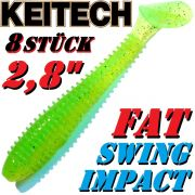 8 X Keitch FAT Swing Impact 2,8 Gummifisch 7cm Lime Chartreuse