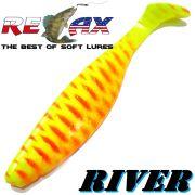 Relax Kopyto River 5 Gummifisch 12,5 cm Fluogelb Rot S 1 Stück idealer Wels & Hechtköder