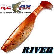Relax Kopyto River 5 Gummifisch 12,5 cm Clear Glitter Kupferperl 1 Stück idealer Wels & Hechtköder