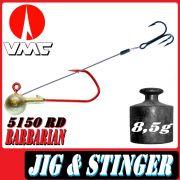VMC Jigkopfhaken Jigkopf Rund mit Angsthaken / Stinger in Größe 2/0 8,5g Jighaken mit VMC Barbarian 5150 RD Haken 1 Stück