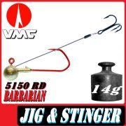 VMC Jigkopfhaken Jigkopf Rund mit Angsthaken / Stinger in Größe 2/0 14g Jighaken mit VMC Barbarian 5150 RD Haken 1 Stück