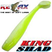 Relax King Shad 4 Gummifisch ca. 11cm Farbe Reinweiss Fluogelb RS Zanderköder