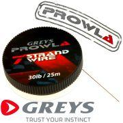 Greys Prowla 7 Strand Stahlvorfachmaterial mit 9kg -20lb Tragkraft auf 25m Spule ideal fürs Raubfischangeln 100% Hechtsicher!