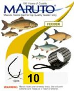 Maruto Feederhaken gebunden Gr.10 0,18mm 3,1kg 80cm 10 Stück Farbe Schwarz