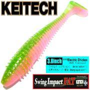 Keitech Fat Swing Impact 3,8 Gummifisch 9 cm Electric Chicken 6 Stück im Set gesalzen & aromatisiert