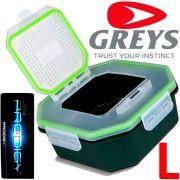 Greys Prodigy Klip-Lok Flip Top Perforated Köderbox Größe L Wurm- und Madenbox 1,96 Liter Volumen ideal für lebende Angelköder