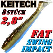 8X Keitch FAT Swing Impact 2,8 Gummifisch 7cm Gold Flash Minnow