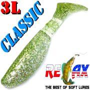 Relax Kopyto 3L Classic 3 Gummifisch 8cm Kristall Glitter Chartreuse Softbait