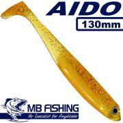 AIDO Shad von MB-Fishing Gummifisch 130mm Farbe Bernstein 3 Stück im Set Barsch & Zanderköder