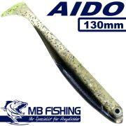 AIDO Shad von MB Fishing Gummifisch 130mm Farbe Braun Glitter 3 Stück im Set Barsch& Zanderköder