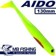AIDO Shad von MB Fishing Gummifisch 130mm Farbe Firetiger 3 Stück im Set Zanderköder