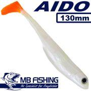 AIDO Shad von MB Fishing Gummifisch 130mm Farbe Hot Albino 3 Stück im Set Zanderköder