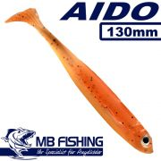 AIDO Shad von MB Fishing Gummifisch 130mm Farbe Kaulbarsch 3 Stück im Set Zanderköder