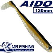 AIDO Shad von MB Fishing Gummifisch 130mm Farbe Kaulbarsch II 3 Stück im Set Zanderköder