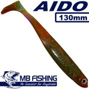 AIDO Shad von MB Fishing Gummifisch 130mm Farbe Motoroil Glitter 3 Stück im Set Zanderköder