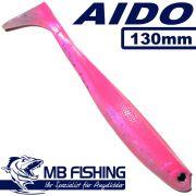 AIDO Shad von MB Fishing Gummifisch 130mm Farbe Pinki / Pinky 3 Stück im Set Zanderköder