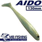 AIDO Shad Gummifisch 130mm Farbe Pünktchen Glitter 3 Stück im Set Zander & Barschköder