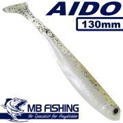AIDO Shad von MB Fishing Gummifisch 130mm Farbe Salt & Pepper 3 Stück im Set Zanderköder