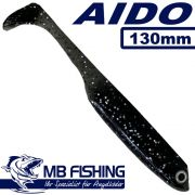 AIDO Shad von MB-Fishing Gummifisch 130mm Farbe Schwarz mit Glitter 3 Stück im Set Zander & Barschköder