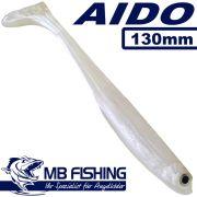 AIDO Shad von MB Fishing Gummifisch 130mm Farbe Weiss 3 Stück im Set Zanderköder