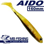 AIDO Shad von MB Fishing Gummifisch 160mm Farbe Braun Glitter 3 Stück im Set Barsch& Zanderköder