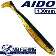 AIDO Shad von MB Fishing Gummifisch 130mm Farbe Dark-Greeny 3 Stück im Set Zanderköder