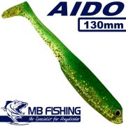 AIDO Shad von MB Fishing Gummifisch 130mm Farbe Grün Glitter 3 Stück im Set Zanderköder