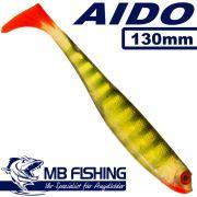 AIDO Shad von MB Fishing Gummifisch 130mm Farbe Hot Perch 3 Stück im Set Zanderköder