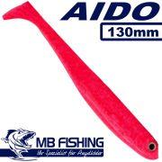 AIDO Shad von MB Fishing Gummifisch 130mm Farbe Japanrot 3 Stück im Set Zanderköder