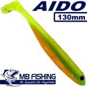 AIDO Shad von MB Fishing Gummifisch 130mm Farbe Riverking 3 Stück im Set Zanderköder