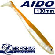 AIDO Shad von MB Fishing Gummifisch 130mm Farbe Shiny Back 3 Stück im Set Zanderköder