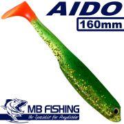 AIDO Shad von MB Fishing Gummifisch 160mm Farbe Grün Glitter OT 5 Stück im Set Zanderköder