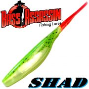 Bass Assassin Shad 5 Inch ca. 12,5cm Farbe Chartreuse Shad Fire Tail 8 Stück im Set Zanderköder