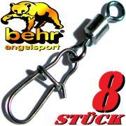 Behr Spezialkarabiner Gr.16 Spin Snap & Power Wirbel Tragkraft 12kg Farbe Black Nickel 8 Stück