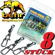 Behr Spezialkarabiner Gr.8 Spin Snap & Power Wirbel Tragkraft 24kg Farbe Black Nickel 8 Stück
