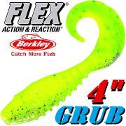 Berkley Flex Grub 4 Twister Gummifisch 10cm Lime 5 Stück im Set!