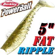 Berkley Power Bait Fat Ripple Shad Gummifisch 5 - 13cm Green Copper 3 Stück Gummifischset