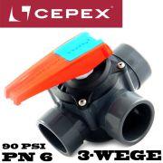 Cepex Drehscheibenventil / 3 Wege Hahn / Ventil aus PVC-U mit 3 X Klebemuffe Druckklasse PN6 für 63mm oder 50mm Rohr