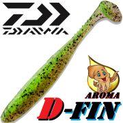 Daiwa Tournament D-Fin 3 Gummifisch 7,6cm Farbe Chartreuse-Ayu 10Stück im Set Tintenfisch-Aroma