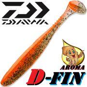 Daiwa Tournament D-Fin 3 Gummifisch 7,6cm Farbe Orange Shiner 10 Stück im Set Tintenfisch-Aroma