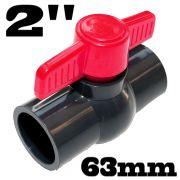 Einklebekugelhahn Kugelhahn Absperrhahn aus PVC-U mit 2 X Klebemuffe für 63mm Rohrleitung